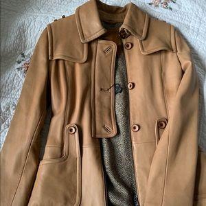 Mackage leather jacket beige color
